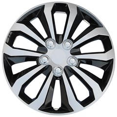 "15"" Universal Silver / Gloss Black Wheel Cover"